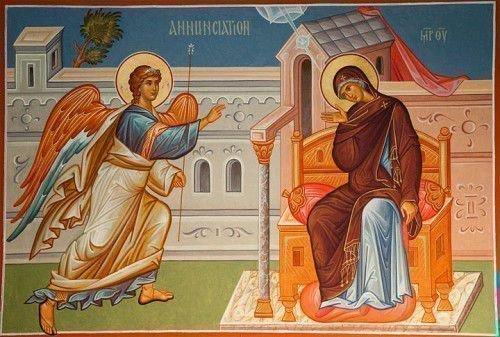 Архангел Гавриил, дева Богородица Служба в Благовещение