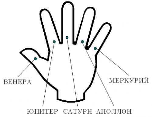 Каждый палец имеет свое значение