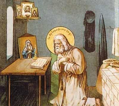 Серафим Саровский молится к келье