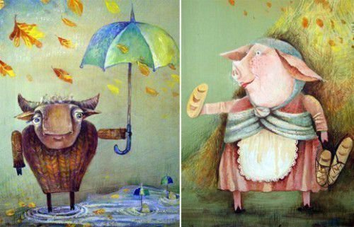 Бык и свинья