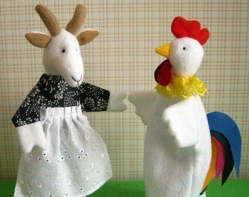 Игрушки: коза и петух